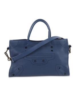 Shoulder Bag Blackout City Blue Leather Satchel by Balenciaga