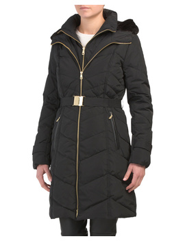 Belted Down Faux Fur Hooded Coat by Tj Maxx