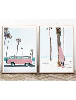 Beach Print Set Of 2 Retro Van Poster Pastel Beach Décor Tropical Surf Print Digital Palm Tree Hippie Van Print Summer California Boho Beach by Etsy