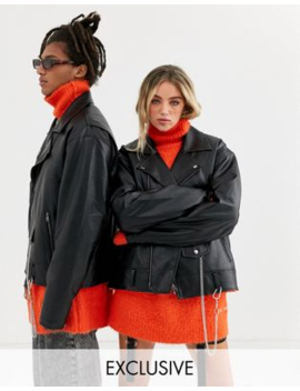 Collusion   Giacca Biker Unisex Oversize In Ecopelle by Collusion