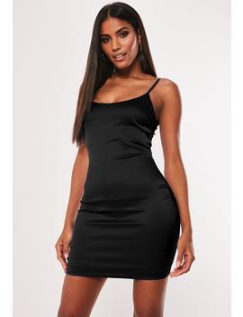 Black Stretch Satin Bodycon Mini Dress by Missguided