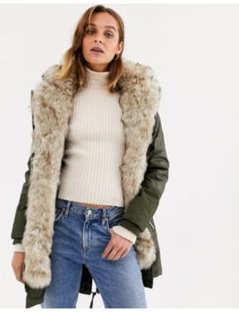 River Island Parka Coat With Faux Fur Inner In Khaki by River Island