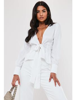 White Poplin Long Sleeve Blouse by Missguided