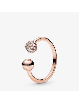 Polished & Pavé Bead Open Ring by Pandora
