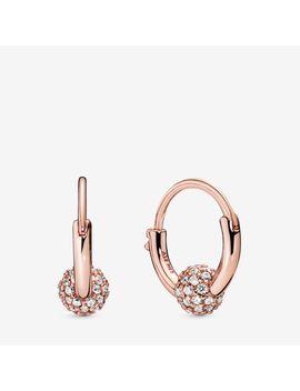 Pavé Bead Hoop Earrings by Pandora