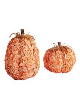 Terracotta Wood Flower Pumpkins With Feathers by Pier1 Imports