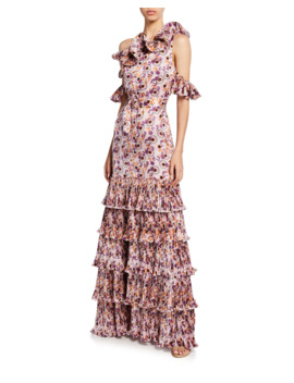 Amonda Floral Pleated Tiered Long Dress by Alexis