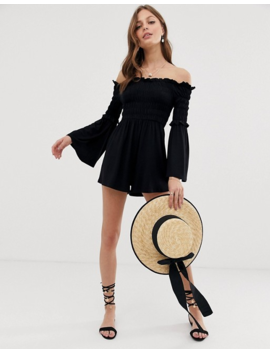 Asos Design Off Shoulder Romper With Shirred Bodice And Flare Sleeve by Asos Design