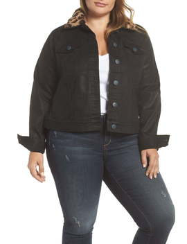 Coated Denim Jacket With Removable Faux Fur Collar (Plus Size) by Slink Jeans