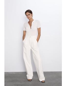 Textured Polo Shirt With Gem Button Topswoman by Zara