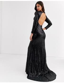 Club L London Tall Sequin Open Back Fishtail Maxi Dress In Black by Club L