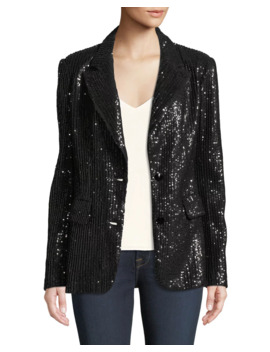Plus Size Two Button Notch Lapel Sequined Blazer by Berek