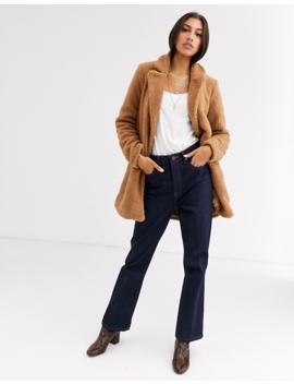 Vero Moda Tall Longline Teddy Coat In Brown by Vero Moda