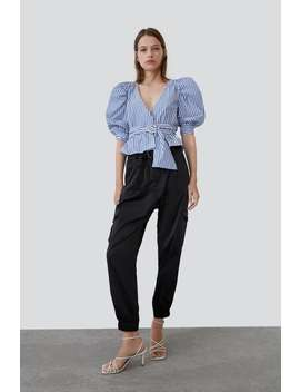 Striped Top With Bejewelled Belt  View All Shirts by Zara