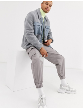 Asos Design Borg Jacket In Grey With Pocket Details by Asos Design