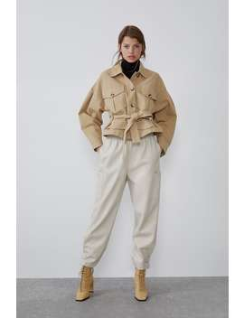 Faux Leather Cargo Trousers  View All Trousers Trf by Zara
