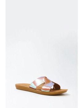 Iridescent Glitter Slide Sandals by Forever 21