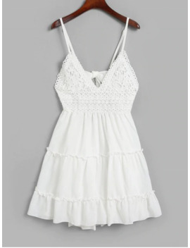 Knotted Back Crochet Panel Flared Cami Dress   White L by Zaful