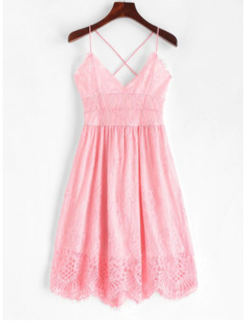 Lace Criss Cross Cami Dress   Pink S by Zaful