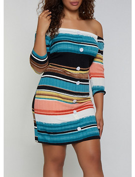 Plus Size Striped Button Detail Off The Shoulder Dress by Rainbow