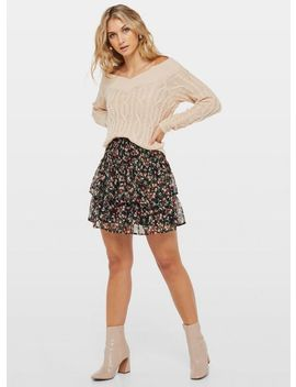 Black Ditsy Print Chiffon Rara Mini Skirt by Miss Selfridge
