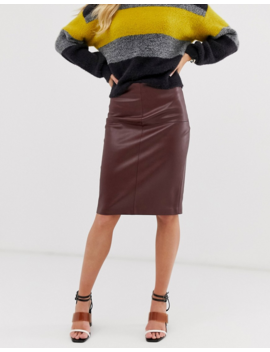 Mango Faux Leather Pencil Skirt In Brown by Mango