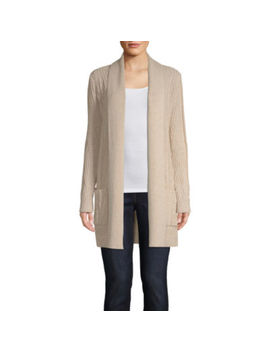 St. John's Bay Womens Long Sleeve Open Front Cable Cardigan by St. John`s Bay