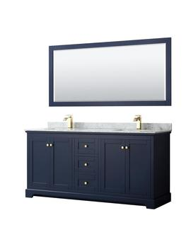 Avery 72 In. W X 22 In. D Bath Vanity In Dark Blue With Marble Vanity Top In White Carrara With White Basins And Mirror by Wyndham Collection