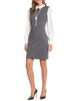 Long Sleeve Pinstripe Shirtdress by Karl Lagerfeld Paris