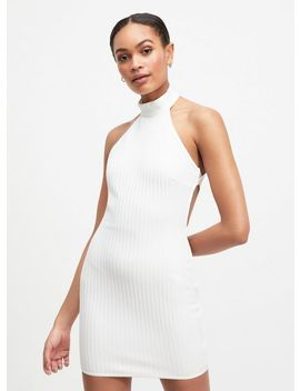 Oh My Days Ivory Halter Ribbed Dress by Miss Selfridge