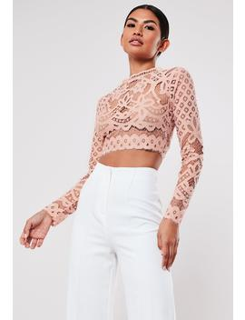 Blush Lace Patterned Crop Top by Missguided