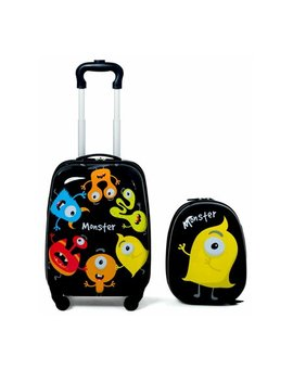 Gymax 2 Pc Kids Luggage Set Backpack & Rolling Suitcase For School Travel Abs by Gymax