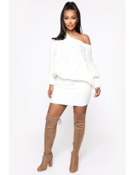 Here For The Pearls Sweater Dress   White by Fashion Nova