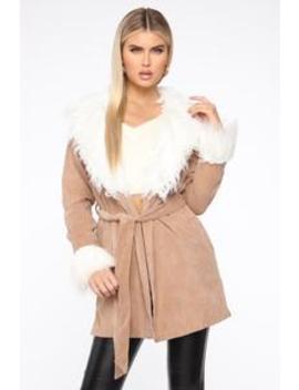Coming Your Way Coat   Khaki/Combo by Fashion Nova