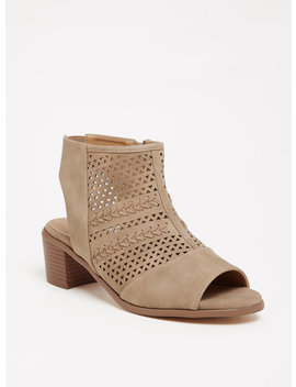 Taupe Perforated Cutout Bootie (Wide Width) by Torrid