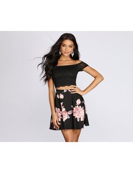 Fresh In Floral Lace Skater Dress by Windsor