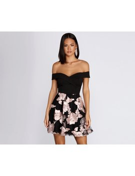 Off Shoulder Floral Skater Dress by Windsor