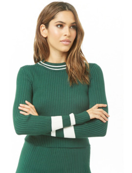 Striped Trim Mock Neck Top by Forever 21