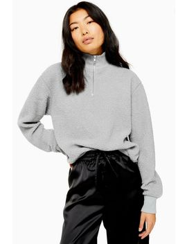 Grey Borg Zip Funnel Sweatshirt by Topshop
