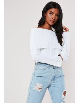 White Extreme Rib Fold Over Bardot Sweater by Missguided