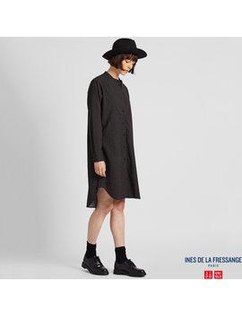 Women Flannel Printed Long Sleeve Dress (Ines De La Fressange) by Uniqlo