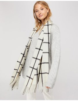 Carter Windowpane Check Blanket Scarf by Accessorize