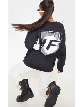 Black Infinity Slogan Back Print Oversized Sweater by Prettylittlething