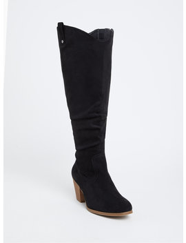 Black Faux Suede Western Knee High Boot (Wide Width & Wide To Extra Wide Calf) by Torrid