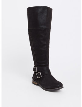 Black Faux Suede Over The Knee Boots (Wide Width) by Torrid