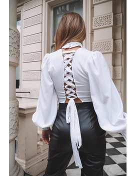 Dani Dyer White Lace Up Back High Neck Crop Top by In The Style