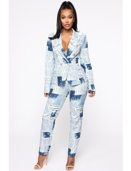 Read All About It Suit Set   Navy/Combo by Fashion Nova