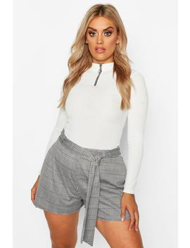 Plus Dogtooth Check Tailored Belt Shorts by Boohoo