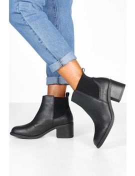 Elastic Gusset Block Heel Chelsea Boots by Boohoo
