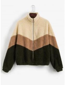 Popular Zaful Color Blocking Zip Drop Shoulder Fluffy Teddy Coat   Multi M by Zaful